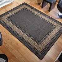 Greek key Flatweave - Black