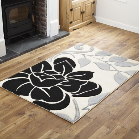 A1R - Cream / Black Runner Rug