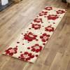A2R - Floral - Biege  / Red Runner Rug