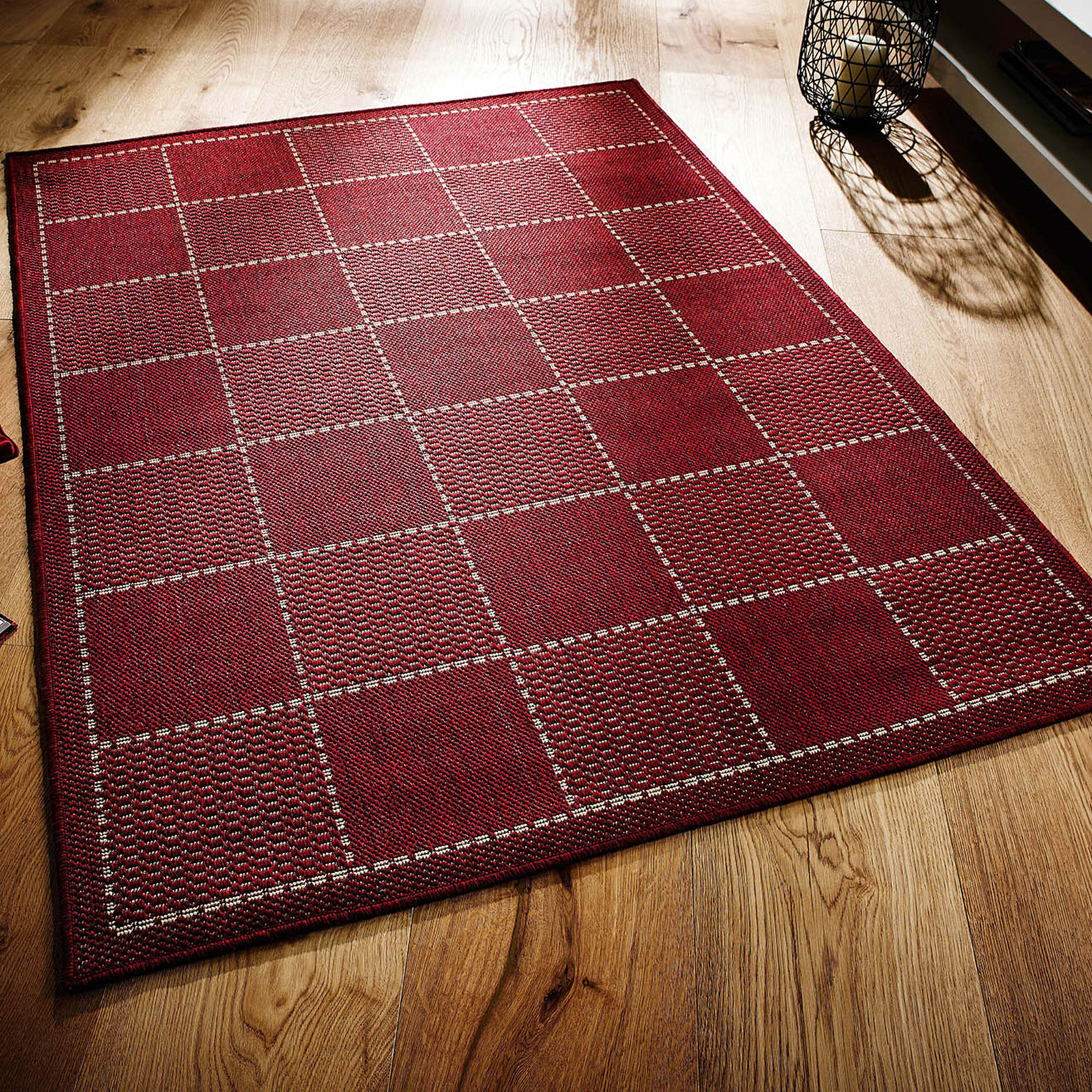CHECKED FLATWEAVE - RED