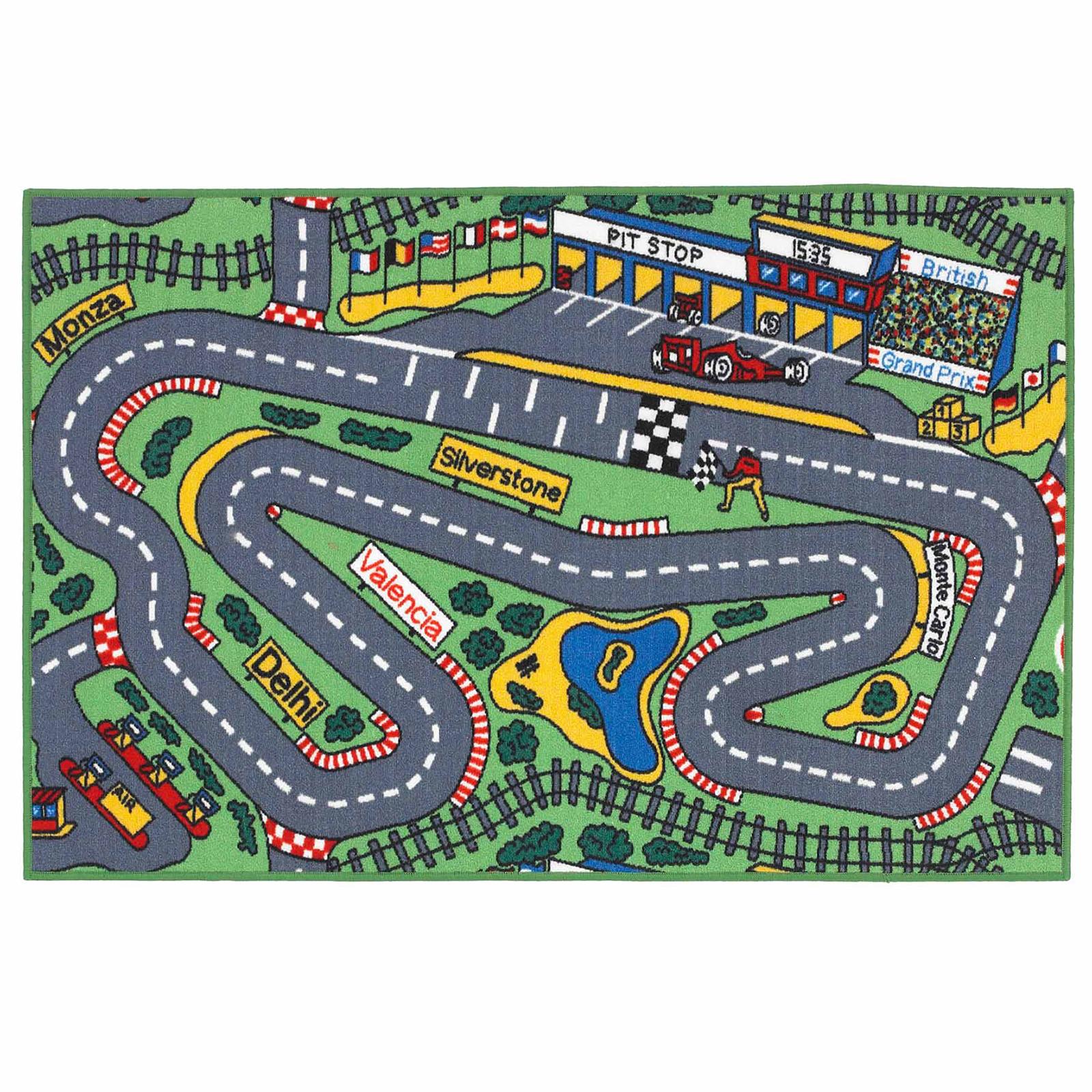 PLAYTIME RACE TRACK KIDS RUG - GREY